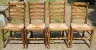 Set of Four Elm Ladderback Dining Chairs